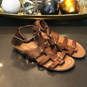 Brown Caged Sandals